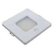 LED LIGHT SQUARE INTERIOR 12/24VDC 14 WHITE LEDS WHITE HOUSING TOUCH SWITCH ON HOUSING 2.5 WATTS