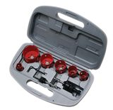 "Hole Saw Kit - 9 PC..7/8"", 1-1/8"", 1-3/8"", 1-3/4"", 2"", 2-1/2"" plus 2 arbors and an allen wrench"