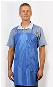 Apron Lab Coat, ECX-500 fabric, hip-length, Blue, 3pockets