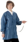 Hallmark Lab Coat w/ESD grid-knit cuffs, IVX-400 fabric, hip-length jacket, Teal, 3pockets