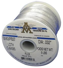 "AIM Solder SN63/37 .032"" 3% RMA Flux, Wire Solder 5 lb Spool"