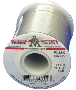 "AIM Solder SN63/37 .025"" 2% Water Soluble OAJ Flux, Wire Solder 1 lb Spool"