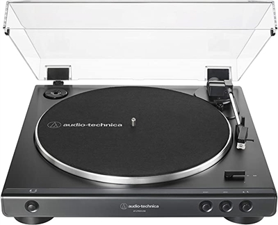 Audio Technica AT-LP60XUSB-BK Fully Automatic Belt-Drive Stereo Turntable (Analog & USB) 33/45 RPM Speeds with Phono Preamp Includes Dust Cover and Dual Magnet Phono Cartridge (Black)
