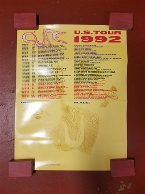 "THE CURE 1992 TOUR ORIGINAL 25"" X 36"" PROMOTIONAL POSTER"