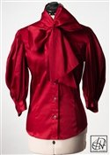 Cranberry Stretch Cotton Bow Blouse