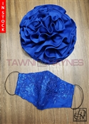 Tawni Haynes Royal Blue Flower Pin with Matching Lace Mask