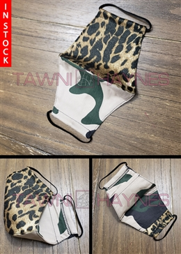 Tawni Haynes In Stock! Split Camo & Leopard Stretch Cotton Mask