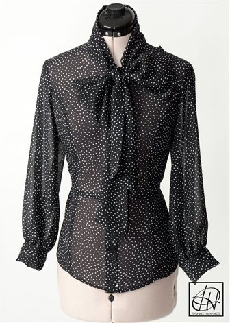 Black White Polka Dot Chiffon Bow Blouse