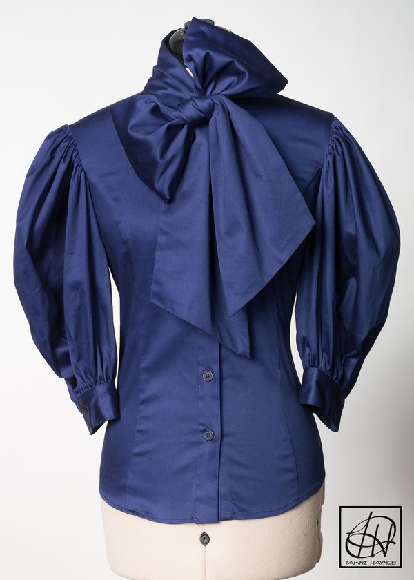 9f1dc232190c86 Navy Stretch Cotton Bow Blouse Larger Photo ...