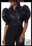 Damask Taffeta Standard Collar Puff Sleeve Body Blouse