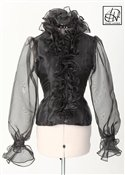 Black Organza Endless Ruffle Blouse
