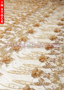 Gold Beaded 3D Flower Lace Fabric