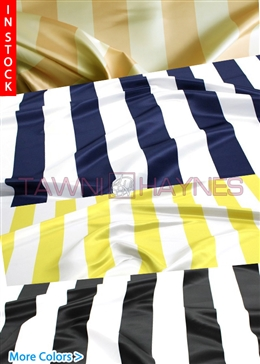 3.5 Inch Striped Poly Satin Fabric
