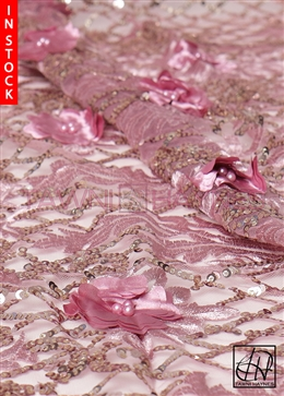 Wisteria Sequin Beaded Lace Fabric