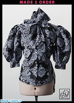 Damask Taffeta Bow Blouse