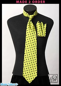 Lime Black Polka Dot Neck Tie