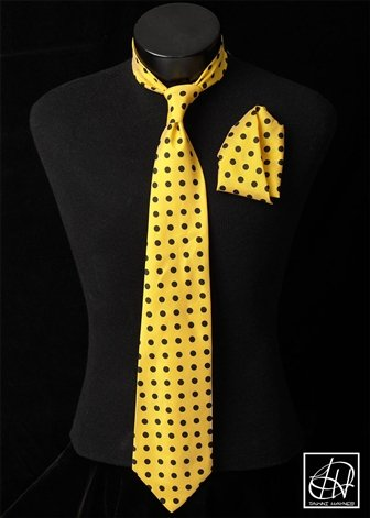 Yellow Black Polka Dot Neck Tie