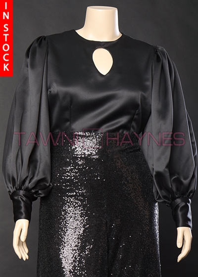 In-Stock! Black Poly Satin Blouse