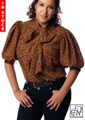 Tawni Haynes In-Stock Brown & Black Leopard Polyester Bow Blouse