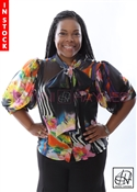 Tawni Haynes In-Stock Black Chiffon Floral Zebra Bow Blouse