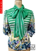 In-Stock! Green & White Stripe Chiffon Bow Blouse
