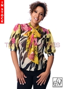 In-Stock! Yellow & Black Zebra Chiffon Bow Blouse