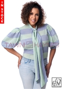 In-Stock! Mint & Blue Stripe Cotton Lawn Bow Blouse