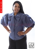 Tawni Haynes In-Stock Dark Chambray Denim Bow Blouse
