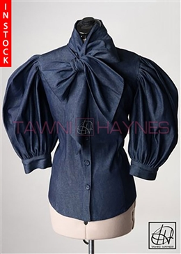 Tawni Haynes In-Stock Denim Bow Blouse