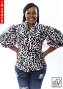 Tawni Haynes In-Stock Black & White Leopard Stretch Cotton Bow Blouse
