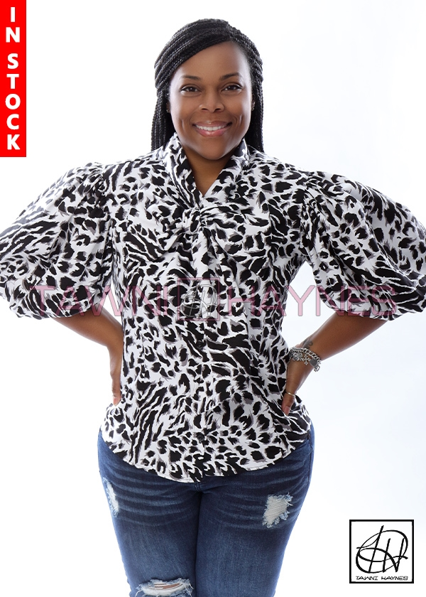 7fc363b5d237ba In Stock Black & White Leopard Stretch Cotton Bow Blouse