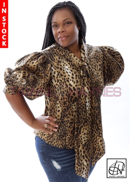 Tawni Haynes In-Stock Leopard Stretch Cotton Bow Blouse