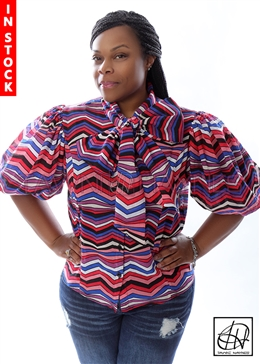 Tawni Haynes In-Stock Multi-Color Diagonal Striped Bow Blouse