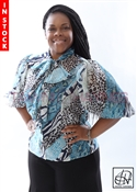 Tawni Haynes In-Stock Mezclar Azul Bow Blouse