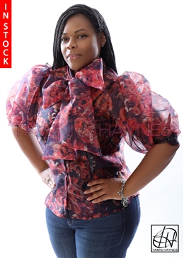 Tawni Haynes In-Stock Navy Blue & Orange Organza Floral Bow Blouse