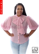 Tawni Haynes In-Stock Pink & Gold Dot Chiffon Bow Blouse