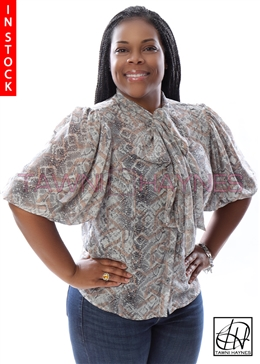 Tawni Haynes In-Stock Reptile Cotton Lawn Bow Blouse