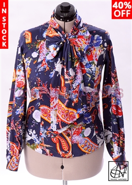Tawni Haynes In-Stock Long Sleeve Floral Paisley Bow Blouse