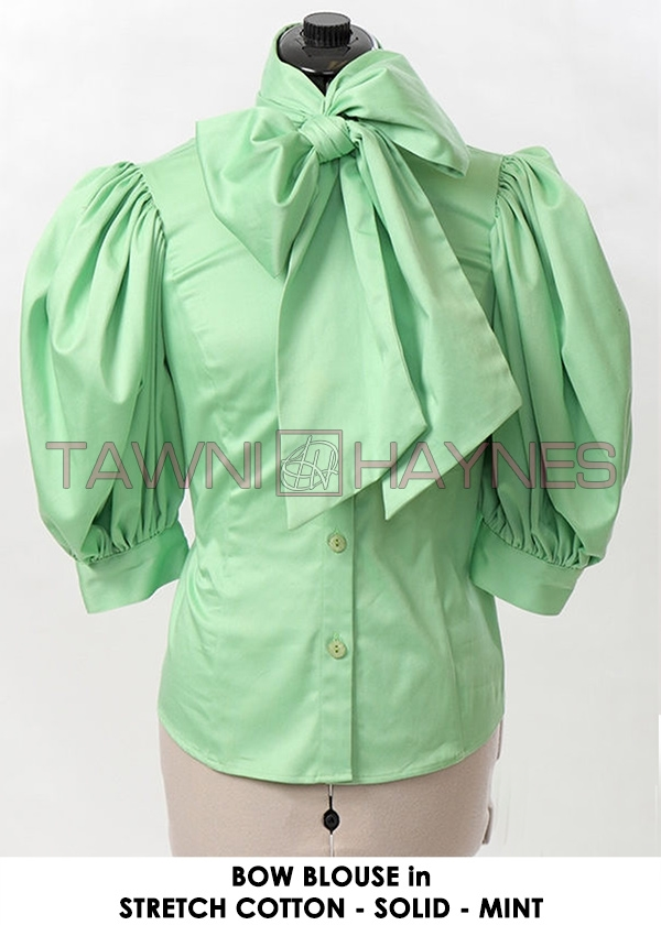 3e9306e778e3bd In Stock Stretch Cotton Sateen Solid Bow Blouses