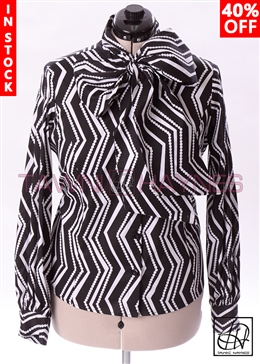 Tawni Haynes In-Stock Long Sleeve Zig Zag Bow Blouse