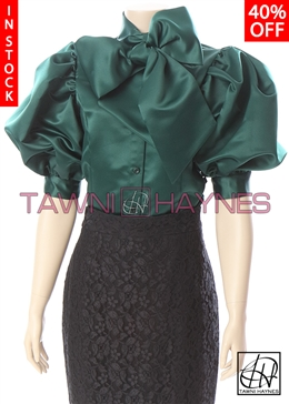 Tawni Haynes In-Stock Poly Satin Bow Blouse