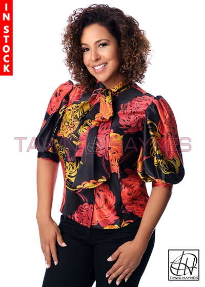 In-Stock! Black Floral Silk Satin Bow Blouse