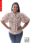 Tawni Haynes In-Stock Taupe Striped Knit Bow Blouse