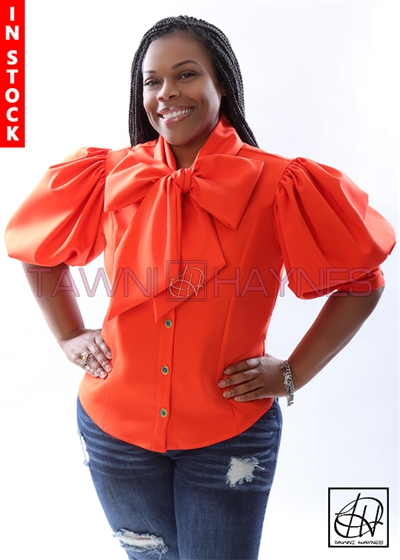 Tawni Haynes In-Stock Tangerine Stretch Cotton Solid Bow Blouse