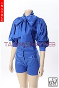 Tawni Haynes In-Stock Stretch Taffeta Bow Blouse & High Waist Shorts
