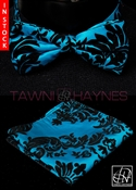 Tawni Haynes Blue w/ Black Damask Taffeta Bow Tie & Pocket Square