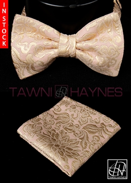 Tawni Haynes Blush Gold Floral Brocade Bow Tie & Pocket Square
