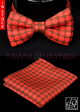 Tawni Haynes Brown Red Polka Dot Brocade Bow Tie & Pocket Square