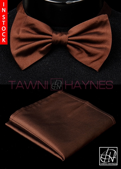 Tawni Haynes Brown Stretch Cotton Bow Tie & Pocket Square