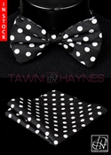 Tawni Haynes Black White Polka Dot Poly Dupioni Bow Tie & Pocket Square